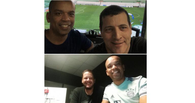 Luiz Alano conversa com os colegas Andrei Kampff e Bruno Laurence no Podcast Cabine FC